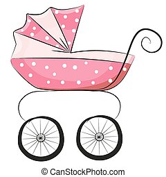 Baby carriage - Pink Baby carriage isolated on a white...