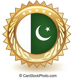 Pakistan Badge - Gold badge with the flag of Pakistan