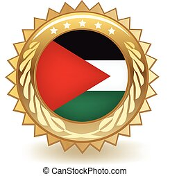 Palestine Badge - Gold badge with the flag of Palestine