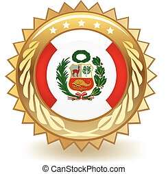 Peru Badge - Gold badge with the flag of Peru