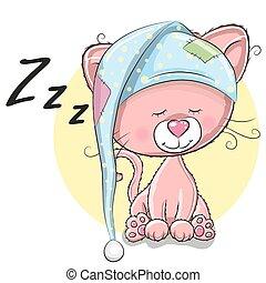 Sleeping Cat - Sleeping cute Kitten in a hood on a white...