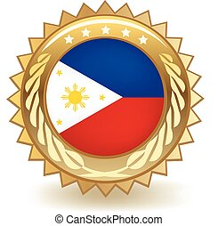 Philippines Badge - Gold badge with the flag of the...