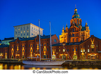 Uspenski Cathedral at night, Helsinki - Nightview of...