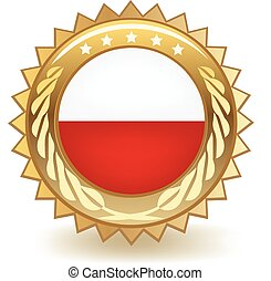 Poland Badge - Gold badge with the flag of Poland