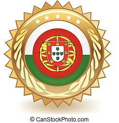 Portugal Badge - Gold badge with the flag of Portugal.