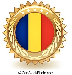 Romania Badge - Gold badge with the flag of Romania