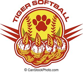 tiger softball team design with claw holding a ball for...