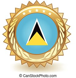 Saint Lucia Badge - Gold badge with the flag of Saint Lucia