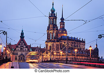 Dresden architecture from Augustus Bridge Dresden, Saxony,...