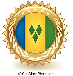 Saint Vincent Badge - Gold badge with the flag of Saint...