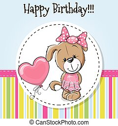 Dog with balloon - Greeting card cute puppy girl with...