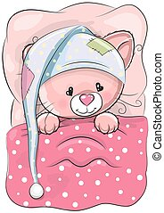 Sleeping Cat - Cute Cartoon Sleeping Cat with a cap in a bed...