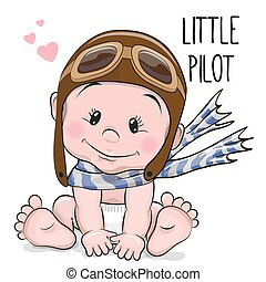 Cute cartoon baby - Cute Cartoon Baby boy in a pilot hat and...