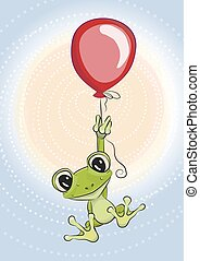 Frog with balloon