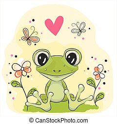 Cartoon Frog - Cute Frog is sitting on the meadow with...