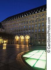 Bochum Rathaus at night Bochum, North Rhine-Westphalia,...