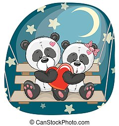Lovers Pandas - Valentine card with Lovers Pandas on the...