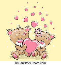 Two Bears with heart - Cute Teddy Bears with heart on a...