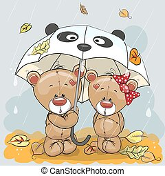 Two bears - Two cute cartoon bears with umbrella under the...