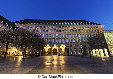 Bochum Rathaus at night. Bochum, North Rhine-Westphalia,...