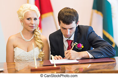 groom  write on registration of marriage