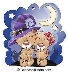 Two bears - Halloween card Two cute cartoon bears on the...