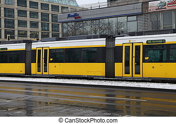Tram - Yellow tram in Berlin