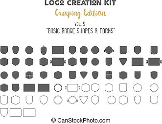 Logo creation kit bundle. Camping Edition set. Basic badge...