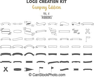 Logo creation kit bundle. Camping Edition set. Ribbons...