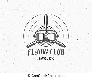 Vintage airplane emblem. Biplane label. Retro Plane badge, design elements. Aviation stamp. Airshow logo and logotype. Fly propeller, goggles, old icon, patch isolated. Vector
