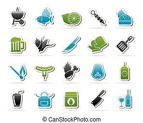 Grill and Barbecue Icons - vector icon set
