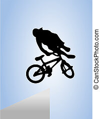 BMX - The man jumps on a bicycle. A vector illustration