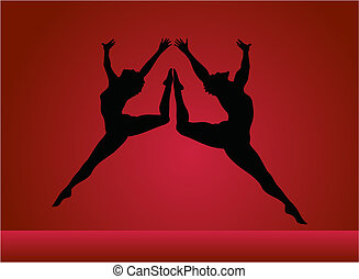 The man and woman in dance on a red background