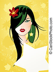 girl2 - The person of the girl, green locks and flower in a...