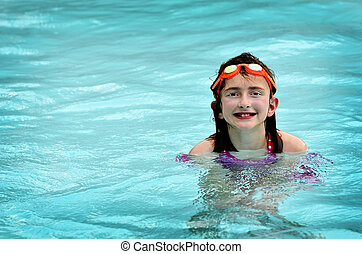 Summer Swimming Fun Goggles Girl
