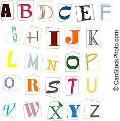 The letters of the English alphabet of different colour