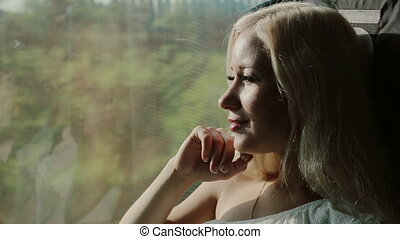 Thoughtful girl riding on a train and looking out the window