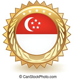 Singapore Badge - Gold badge with the flag of Singapore