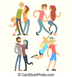 Couples in Love, Vector Illustration