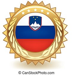 Slovenia Badge - Gold badge with the flag of Slovenia