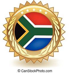 South Africa Badge - Gold badge with the flag of South...