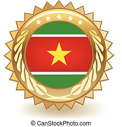 Suriname Badge - Gold badge with the flag of Suriname.