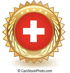 Switzerland Badge - Gold badge with the flag of Switzerland