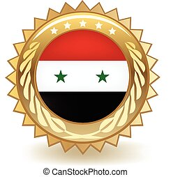 Syria Badge - Gold badge with the flag of Syria