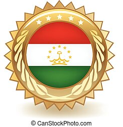 Tajikistan Badge - Gold badge with the flag of Tajikistan.