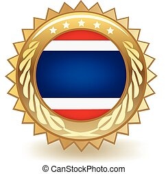 Thailand Badge - Gold badge with the flag of Thailand
