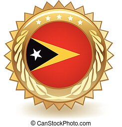 East Timor Badge - Gold badge with the flag of East Timor.