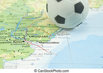 soccer ball on map