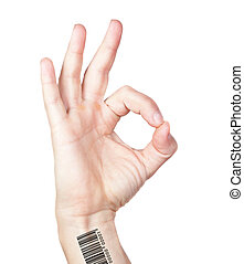 Human hand with bar code gesture is all right everything is...