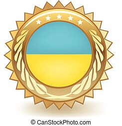 Ukraine Badge - Gold badge with the flag of Ukraine